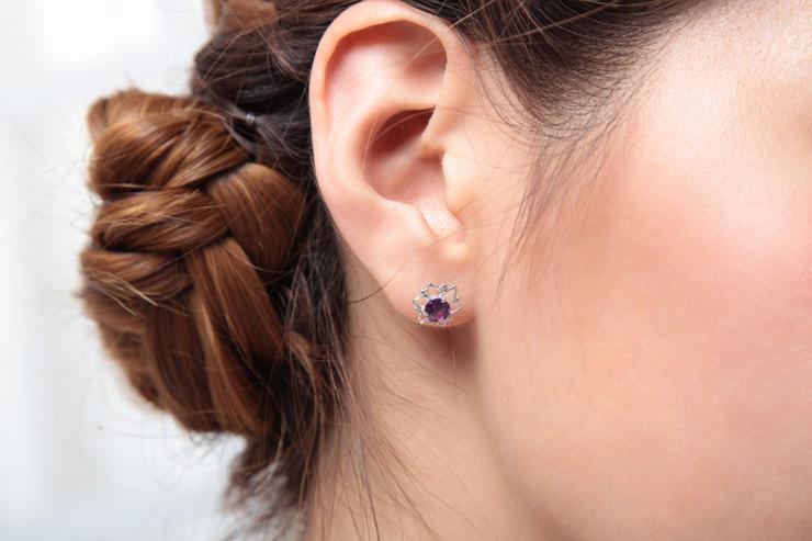 天然紫水晶 耳钉