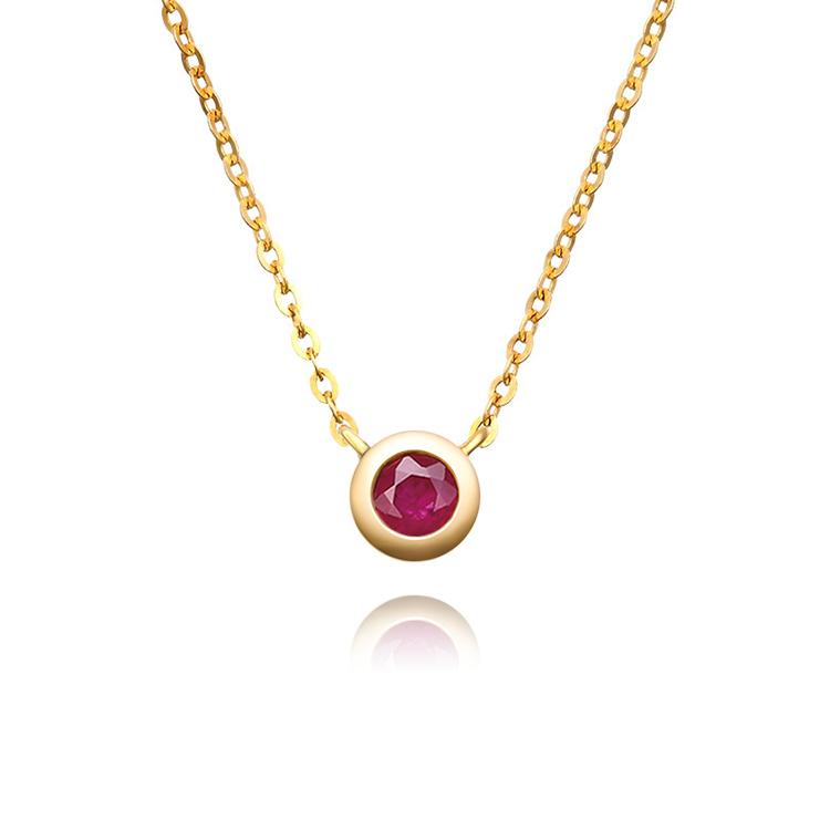 18k金红宝石项链