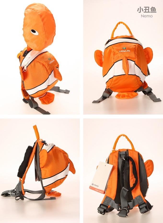 英国littlelife可爱超萌3d动物独特造型儿童双肩防走失背包(小金鱼)