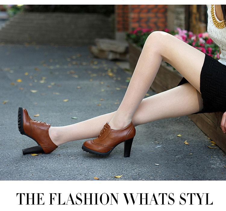 2013新款女士单鞋高跟鞋粗跟系带深口鞋