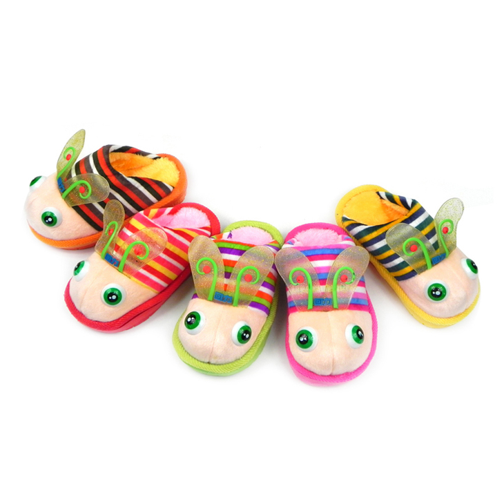 回力秋冬新款可爱小蜻蜓卡通儿童棉拖鞋 居家保暖 超柔平绒防滑棉拖