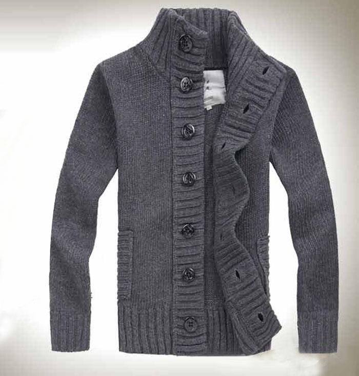 男士纯色立领毛衣开衫外套