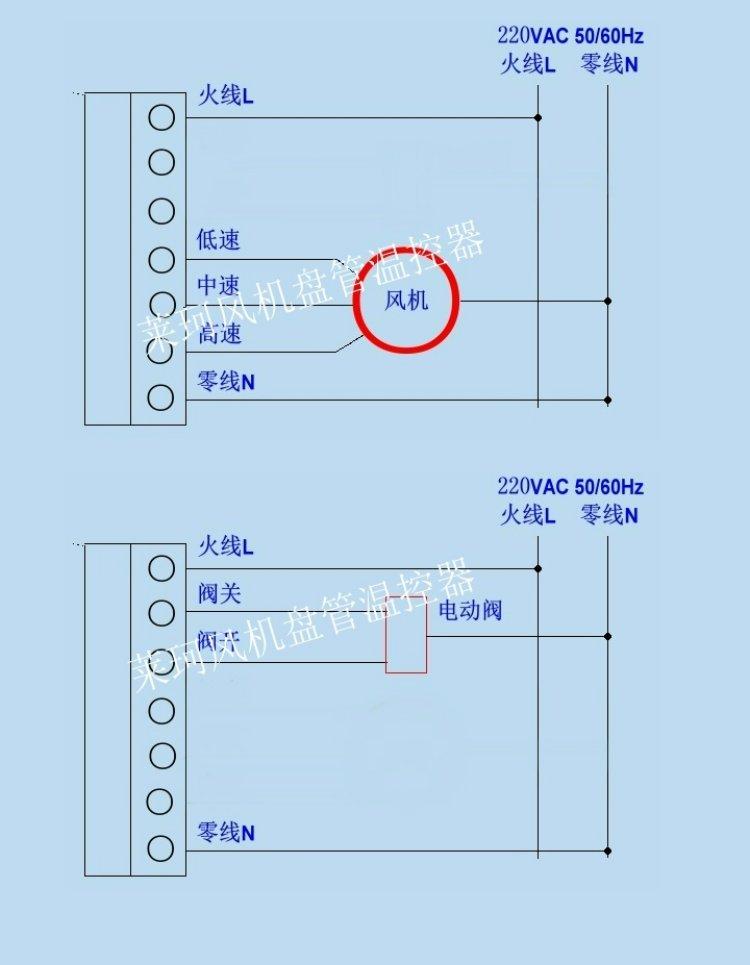 莱珂k301中央空调液晶温控器 蓝色背光风机盘管温度控制器 空调器控温