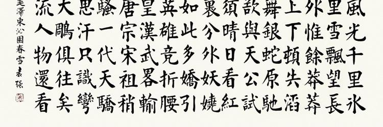 袁强 沁园春雪5> 书法 楷书 毛泽东 横幅图片