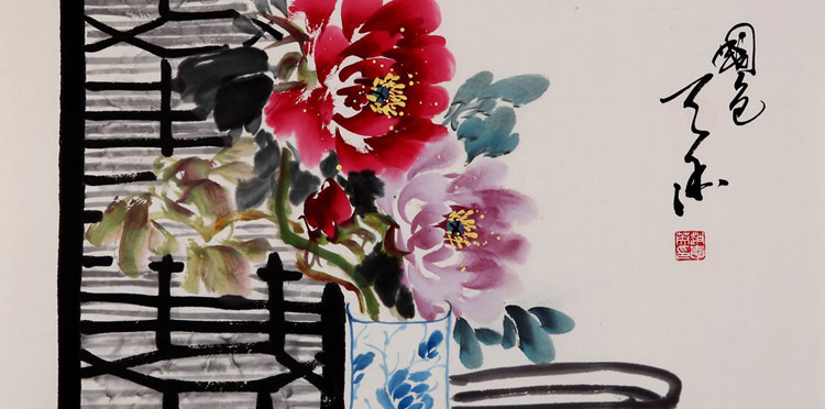 国画牡丹花瓶的画法步骤